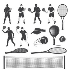 Set tennis and paddle tennis equipment vector