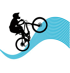 Silhouette of a cyclist riding a mountain bike vector