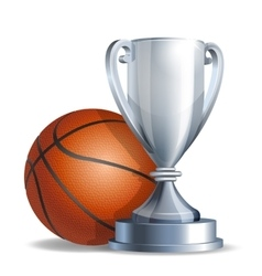 Silver trophy cup with a Basketball ball vector image