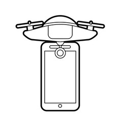 Smartphone with drone remote control app vector