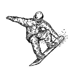 snowboarder jumping sketch hand vector image