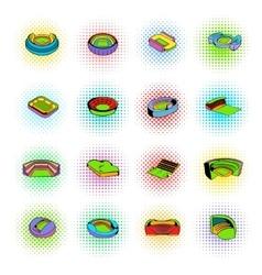 Stadium set icons comics style vector