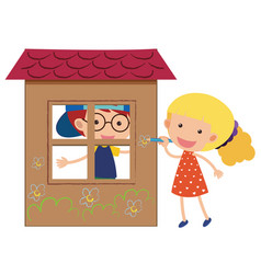 two kids playing in the playhouse vector image