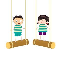 Two kidsl swinging on swings vector image