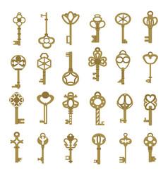 Vintage antique key collection in golden color vector