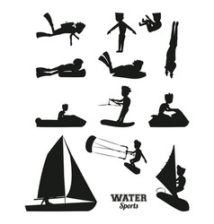 Water sports silhouette vector