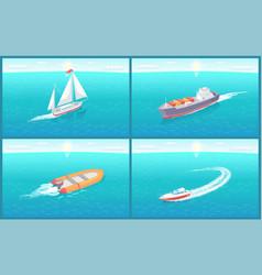 Water transport sailing ship variety set vector