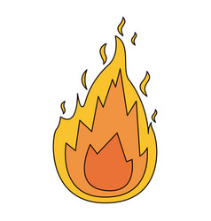 White background with flame icon with thick vector