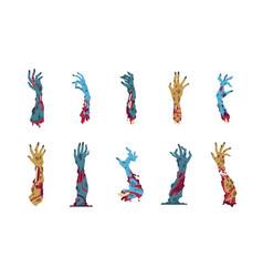 Zombie hands cartoon monster arms for halloween vector
