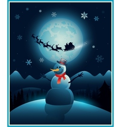 Christmas winter snowman background greeting card vector image