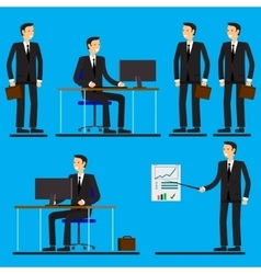 Cool flat design corporate business people line-up vector image vector image