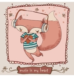 Cute cartoon fox enjoys the music with headphones vector image vector image