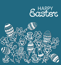 happy easter card flowers and paschal eggs vector image vector image