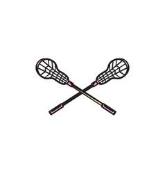 Lacrosse Stick Woodcut vector image vector image