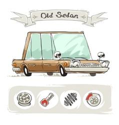 Old cartoon sedan set vector