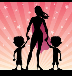 super mom with twin boys vector image vector image