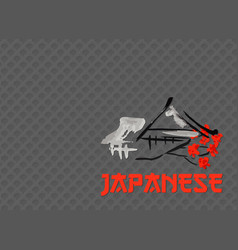 asian landscape building symbol and sakura vector image vector image