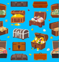 chest treasure box with gold money wealth vector image