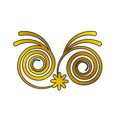 decoration ornament swirl floral golden vector image