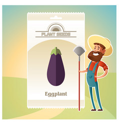 Pack of eggplant seeds vector