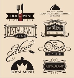 Restaurant signs symbols and logos vector image