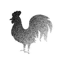 rooster black dotwork vector image vector image