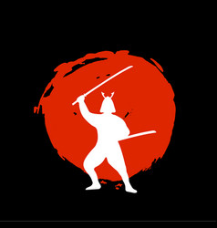 samurai warrior silhouette on red moon and black vector image vector image