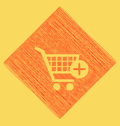 shopping cart with add mark sign red vector image
