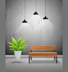 tropical tree with wooden chair and lamp vector image vector image