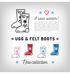 Ugg and Felt boots thin line icons Valenki vector image