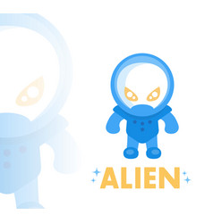 alien in blue space suit in flat style vector image