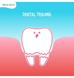 Cartoon bad tooth icon with dental trauma vector