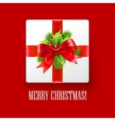 Gift box with Christmas decoration vector image