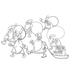 santa claus group coloring page vector image vector image