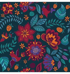 Seamless Floral Pattern with Bird vector image