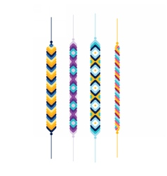 Set of multicolor friendship hippie bracelets vector image vector image