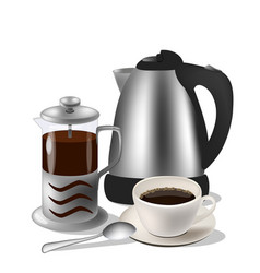 coffe set kettle french vector image
