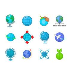 globe icon set cartoon style vector image