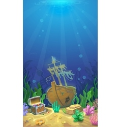 Underwater landscape Pirate chest with treasures vector image vector image