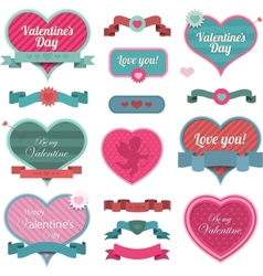 Valentine heart shaped decoration and ribbons vector image vector image