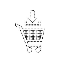 add to shopping cart sign black dashed vector image