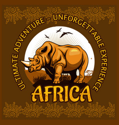 African landscape and rhino - poster vector