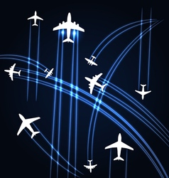 Airplanes trajectories background vector image