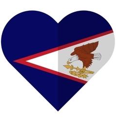 American Samoa flat heart flag vector