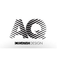 Aq a q lines letter design with creative elegant vector