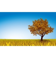 Autumn tree on field vector image