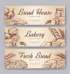 Bakery banners hand drawn cooking bread bakery vector