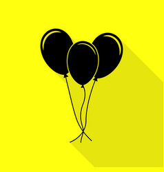 balloons set sign black icon with flat style vector image