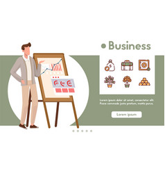 banner business with linear icons set vector image