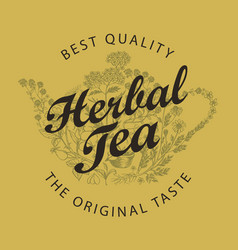 banner or label for herbal tea with teapot and vector image